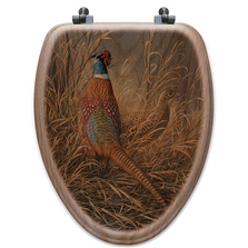 "Pheasant Oak Wood Elongated Toilet Seat ""Late Season Solitude"" 