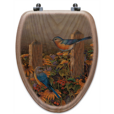 "Bluebird Oak Wood Elongated Toilet Seat ""Linda's Bluebirds"" 