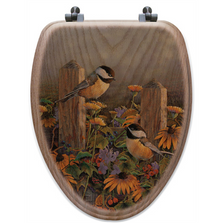 "Chickadee Oak Wood Elongated Toilet Seat ""Linda's Chickadees"" 