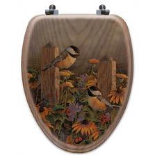 "Chickadee Oak Wood Elongated Toilet Seat ""Linda's Chickadees""   Wood Graphixs   WGICLC-E"