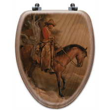 "Cowboy Oak Wood Elongated Toilet Seat ""Long Road Home"" 