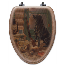 "Black Lab Oak Wood Elongated Toilet Seat ""Opening Day"" 
