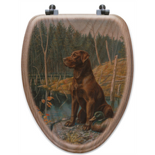 "Brown Lab Oak Wood Elongated Toilet Seat ""Ready to Go"" 
