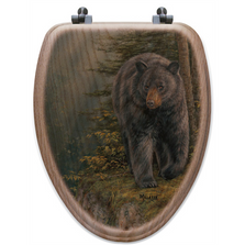 "Bear Oak Wood Elongated Toilet Seat ""Rocky Outcrop"" 