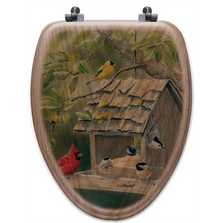 "Bird House Oak Wood Elongated Toilet Seat ""Summer Feast""   Wood Graphixs   WGIBHSF-E"