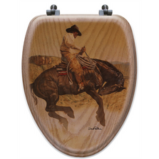"Cowboy Oak Wood Elongated Toilet Seat ""Sun Fishin"" 