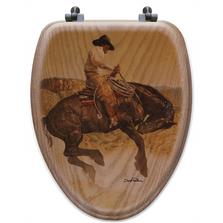 "Cowboy Oak Wood Elongated Toilet Seat ""Sun Fishin""   Wood Graphixs   WGICBSF-E"