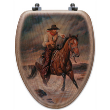 "Cowboy Oak Wood Elongated Toilet Seat ""The Crossing"" 