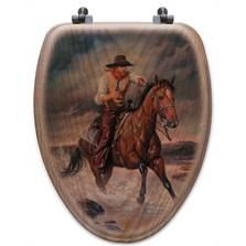 """Cowboy Oak Wood Elongated Toilet Seat """"The Crossing""""   Wood Graphixs   WGICBTC-E"""