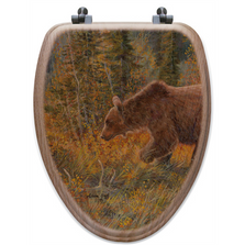 "Bear Oak Wood Elongated Toilet Seat ""The Grizzly Walk"" 