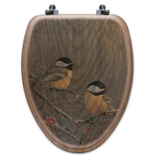 "Chickadee Oak Wood Elongated Toilet Seat ""Winter Breeze"" 