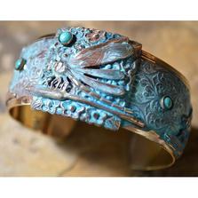 Dragonfly Patina Brass Cuff Turquoise Chrysocolla Bracelet | Elaine Coyne Jewelry | DRP275BCTU