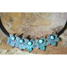 Maple Leaf Patina Brass Turquoise Rawhide Necklace | Elaine Coyne Jewelry | NAP879NTU