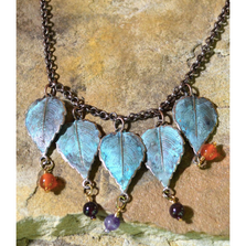 Patina Brass Leaf Pendant Chain Necklace | Elaine Coyne Jewelry | NAP713N