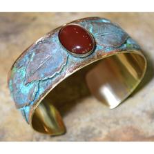 Patina Brass Leaf Carnelian Cuff Bracelet | Elaine Coyne Jewelry | NAP713BC