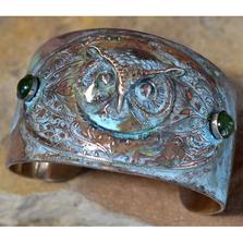 Owl Patina Brass Cuff Bracelet with Jade | Elaine Coyne Jewelry | OWO147CF