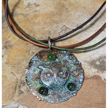 Owl Patina Brass Jade Pendant | Elaine Coyne Jewelry | OWO147PD