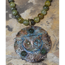 Owl Patina Brass Jade Bead Necklace | Elaine Coyne Jewelry | OWO147N