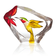 Hummingbird Painted Crystal Sculpture | 34265 | Mats Jonasson Maleras