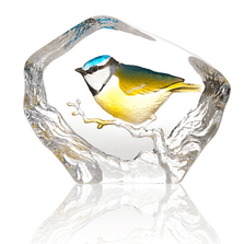 Blue Tit Painted Crystal Sculpture | 34266 | Mats Jonasson Maleras