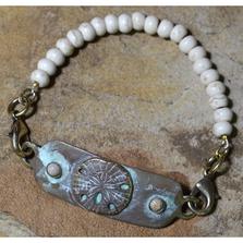 Sand Dollar Patina Brass White Turquoise Bracelet | Elaine Coyne Jewelry | OCW508RB-3
