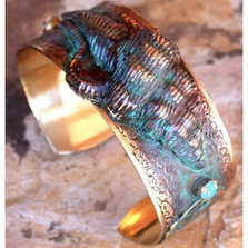 Conch Shell Patina Brass Opal Crystal Cuff Bracelet | Elaine Coyne Jewelry | OCP989BCCR