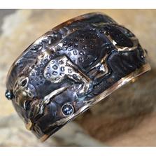 Leopard Gunmetal Brass Cuff Bracelet | Elaine Coyne Jewelry | LG643CF