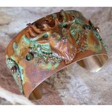 Deer Vintage Patina Brass Jade Jasper Cuff Bracelet | Elaine Coyne Jewelry | CUO959CF