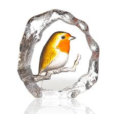 Robin Painted Crystal Sculpture | 34267 | Mats Jonasson Maleras