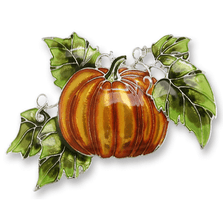 Magic Pumpkin Enameled Silver Plated Pin | Nature Jewelry | 2173Z2