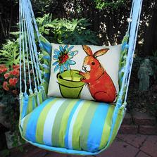 "Bunny with Flower Pot Hammock Chair Swing ""Beach Boulevard"" | Magnolia Casual | BBRBFP-SP"