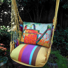 "Bird and Watering Can Hammock Chair Swing ""Cafe Soleil"" 