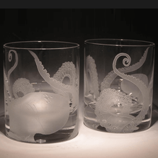 Octopus Etched Crystal 11 oz Double Old Fashioned Glass Set of 2 | Evergreen Crystal | 012-0021