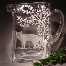 Fox Etched Crystal Pitcher | Evergreen Crystal | P1010399-650