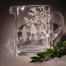 Fox Hunt Etched Crystal Pitcher | Evergreen Crystal | P1010402-651