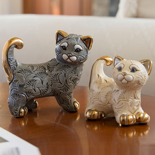 Abanico Cat Family Ceramic Figurine Set of 2 | De Rosa