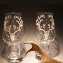 Deer with Branch Antlers Etched Crystal  Beer Glass Set of 2 | 003 | Evergreen Crystal