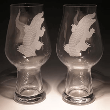 Alligator Etched Crystal Craft Beer Glass Set of 2 | 009-NA-38Alligator | Evergreen Crystal