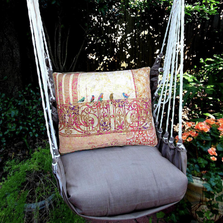 "Birds on a Gate Hammock Chair Swing ""Chocolate"" 