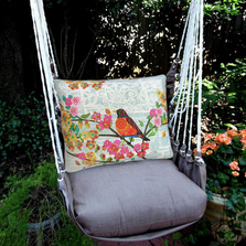 "Bird on Branch Hammock Chair Swing ""Chocolate"" 