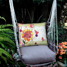 """Birds and Flowers Hammock Chair Swing """"Chocolate"""" 