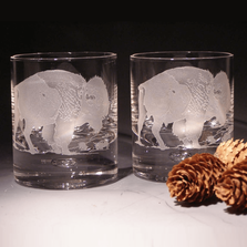 Buffalo Etched Crystal 11 oz Double Old Fashioned Glass Set of 2 | Evergreen Crystal | 620-NA14