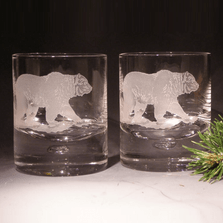 Grizzly Bear Etched Crystal 11 oz Double Old Fashioned Glass Set of 2 | Evergreen Crystal | 620-NA07