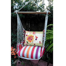 "Birds with Flower Hammock Chair Swing ""Cristina Stripe"" | Magnolia Casual | CRRRWMB-SP"