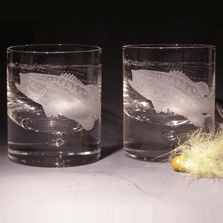 Largemouth Bass Etched Crystal 11 oz Double Old Fashioned Glass Set of 2 | Evergreen Crystal | 620-NA26