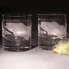 Largemouth Bass Etched Crystal 11 oz Double Old Fashioned Glass Set of 2   Evergreen Crystal   620-NA26