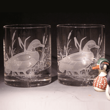 Mallard Etched Crystal 11 oz Double Old Fashioned Glass Set of 2 | Evergreen Crystal | 620-NA20