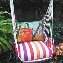 "Bird and Watering Can Hammock Chair Swing ""Cristina Stripe"" 