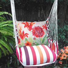 "Red Flower Hammock Chair Swing ""Cristina Stripe"" | Magnolia Casual | CRGG503-SP"