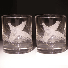 Pheasant Etched Crystal 11 oz Double Old Fashioned Glass Set of 2 | Evergreen Crystal | 620-NAPheasant